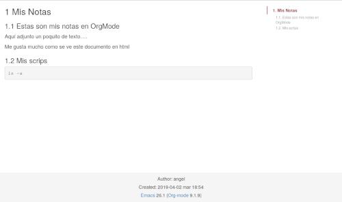 Exportando bonito a html mi OrgMode y creando web estática